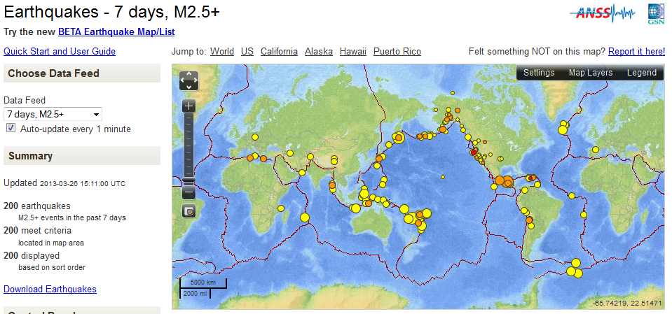 Earthquake Map Past 7 Days 03/26/2013 | End Time Bible Prophecy