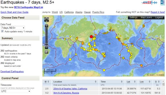 earthquakes 4 05 2013