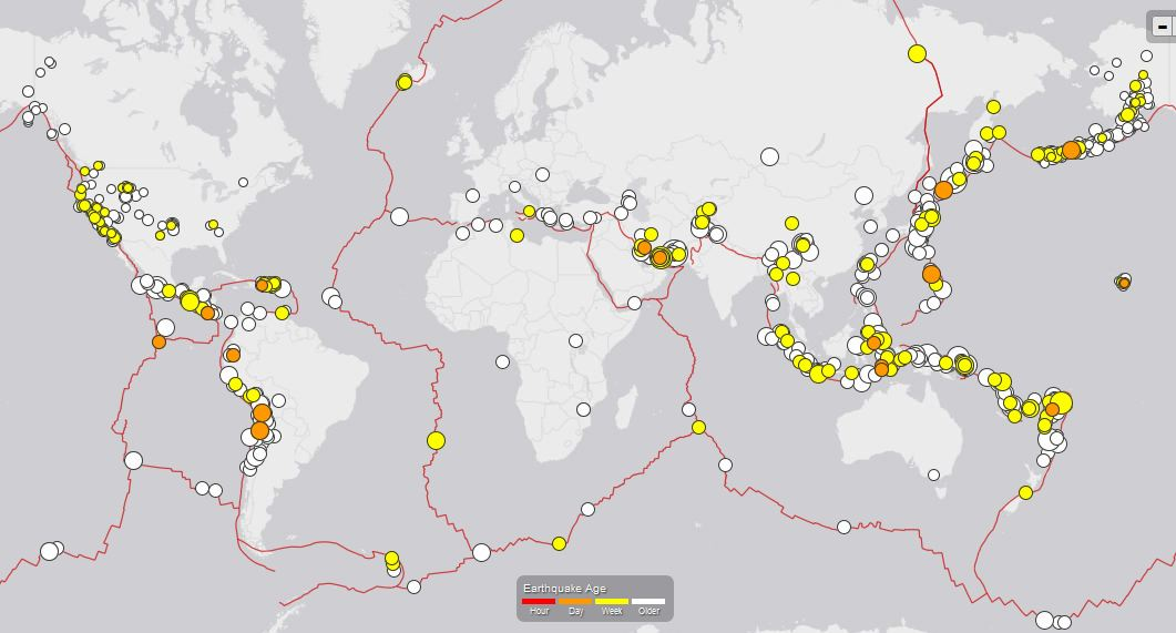 Worldwide Earthquake Map Past 30 Days Magnitude 2 5 And Higher