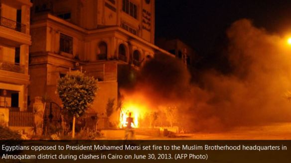 000 end time bible prophecy Protestors set fire to Muslim Brotherhood headquarters