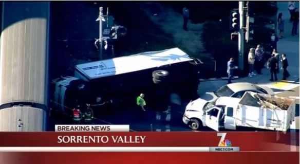 Train collides with 3 vehicles San Diego