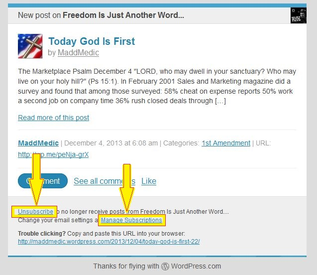 wordpress post email arrows