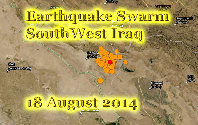 earthquake swarm hits southwest Iran today 18 Aug 2014 copy