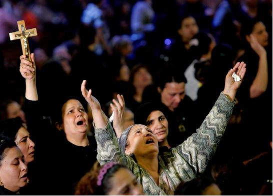 Coptic Christian women praying