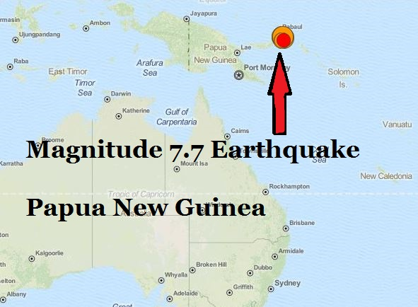 earthquake 7.7 Papua New Guinea