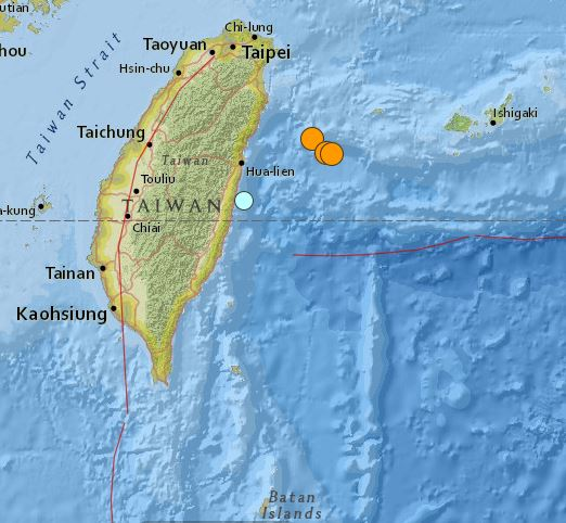 earthquakes Taiwan 20 April 2015