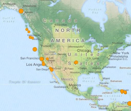 earthquakes North America 22 May 2015
