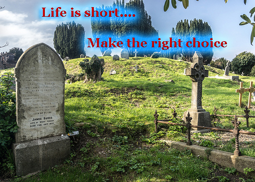 life is short make the right choice copy