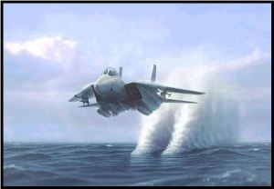 fighter jet over water