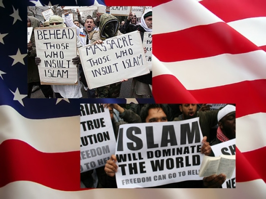 American flag Islam will dominate the world