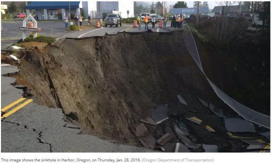 Sinkhole Oregon Jan 28 2016