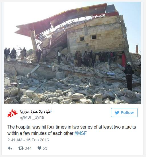 Syrian hospital bombed by Russia February 15 2016