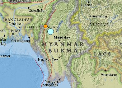 earthquake Burma Myanmar magnitude 6.9  April 13 2016