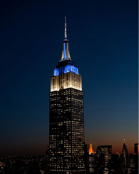 Empire State Building white and blue for Israel