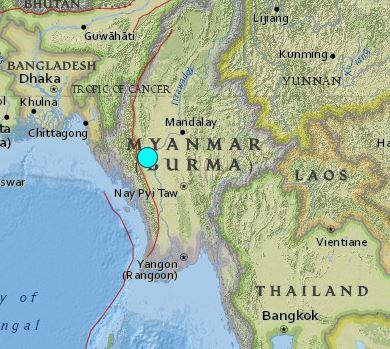 earthquake Burma 6.8 August 24 2016